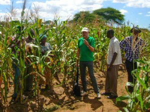 Per Hilbur talking to farmers in the project site in Babati, Tanzania.
