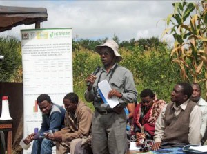 Ngulu (standing) during a Farmers Field day in Sabilo village in Babati
